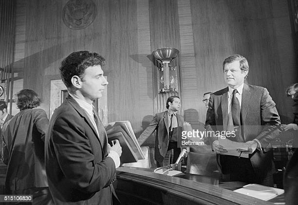 Consumer advocate Ralph Nader chats with Sen Edward M Kennedy after testifying 7/21 before a Senate subcommittee on administration practice and...