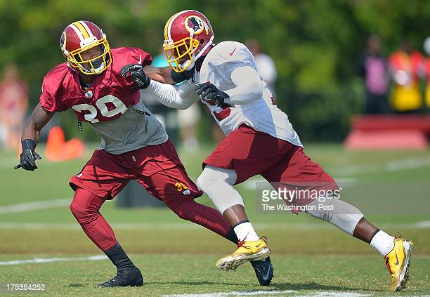 Washington cornerback David Amerson left guards wide receiver Josh Morgan on a pass route during the Washington Redskins afternoon practice on day 8...