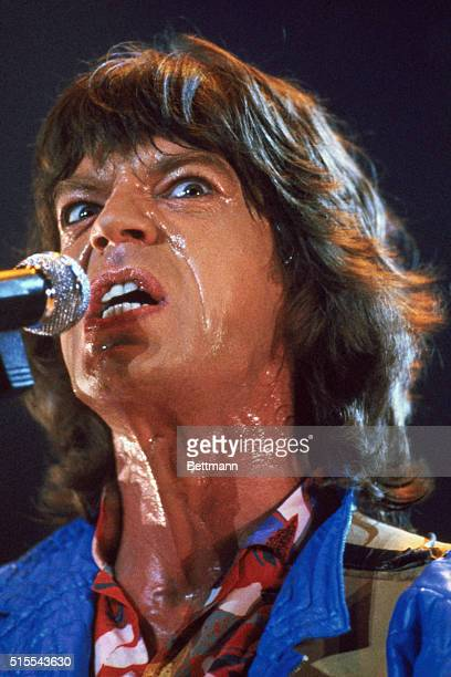 Washington D C Capital Centre Arena With sweat dripping down his face lead singer of the Rolling Stones Mick Jagger angrily belts out a song during...
