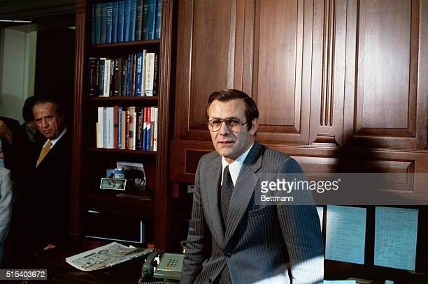 Close up of Donald Rumsfeld White House Chief of Staff nominated to be the secretary of Defense in his White House office