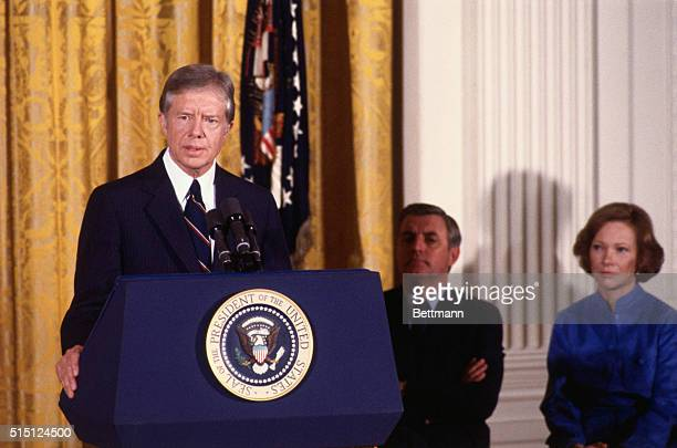 President Jimmy Carter announces his intention to seek a second presidential term during a White House ceremony