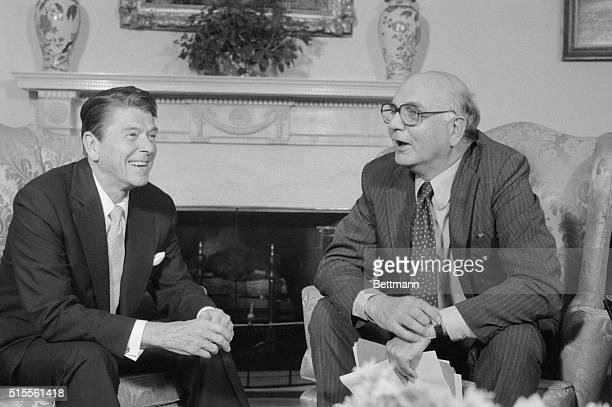 President Reagan meets with Paul Volcker Chairman of the Federal Reserve Board in the Oval Office 7/16 Volcker gave Reagan some talking points for...