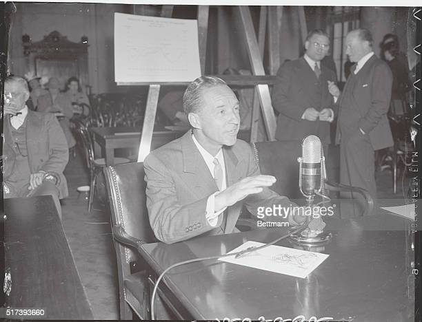 Washington, D. C.: Talks Of Machines And Men. Edsel Ford, son of auto magnate Henry Ford and himself President of the Ford Motor Company, is pictured...