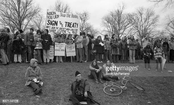 Large groups of activists gather on a lawn near the Lincoln Memorial in Washington DC in protest of the Vietnam War and Richard Nixon's 2nd...