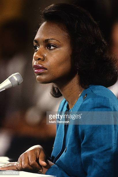 Washington DC Anita Hill testifies to sexual harassment from former boss Clarence Thomas during a Senate Judiciary Committee hearing on the...