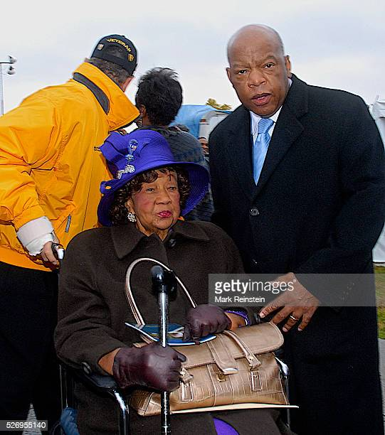Washington DC Dorothy Height president of the National Council of Negro Women is accompanied by Congressman John Lewis Ga to the ground breaking...