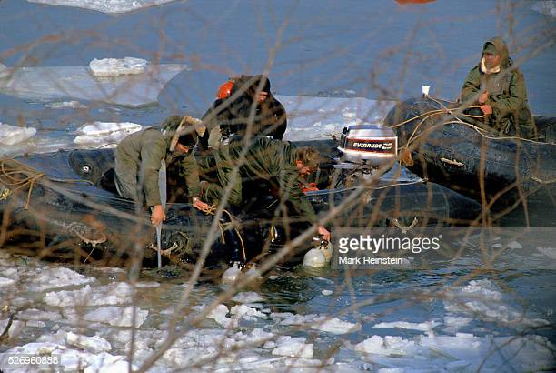 Washington DC 1141982 Scuba divers are pulled from the icy waters of the Potomac River after searching for bodies of the Air Florida Flight crash the...