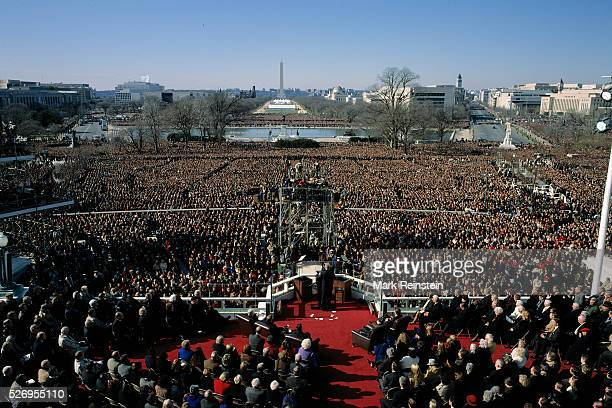Washington DC. 1-20-1993 President William Jefferson Clinton delivers his Inauguration speech from the West Front of the US Capitol building. Members...