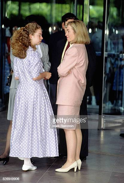 Washington DC 1993 First Lady Hillary Rodham Clinton greets well wishers as she and daughter Chelsea tour art Museum in Washington DC Credit Mark...