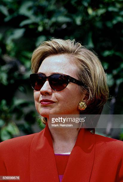 Washington DC 1993 First Lady Hillary Rodham Clinton in the Rose Grden of the White House Credit Mark Reinstein