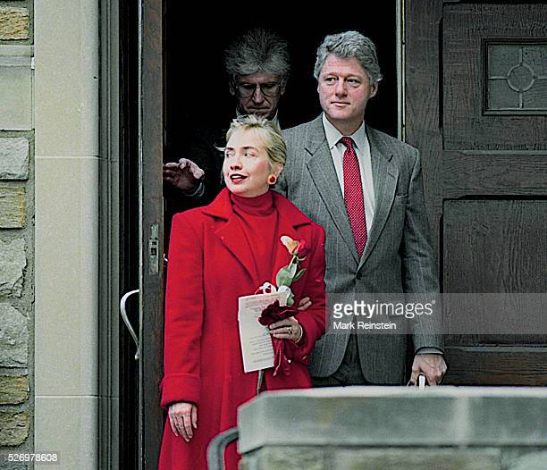 Washington DC 2141993 President William Jefferson Clinton along with First Lady Hillary Rodham Clinton arrive and depart Sunday morning Church...