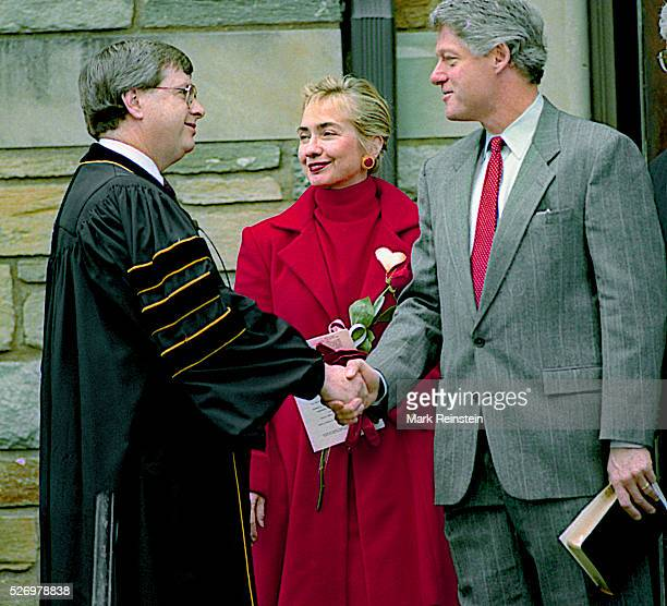 Washington DC 2141993 President William Jefferson Clnton along with First Lady Hillary Rodham Clinton arrive and depart Sunday morning Church...