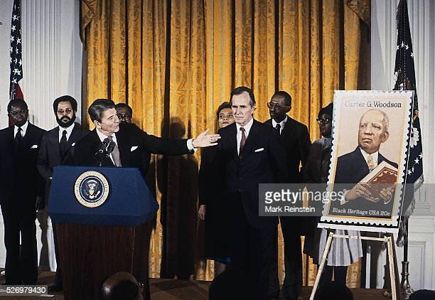 Washington DC 221984 President Ronald Reagan delivers remarks at a White House Ceremony marking the observance of National AfroAmerican History Month...