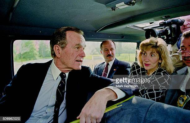 Washington DC 4121992 President George HW Bush after attending palm Sunday Services at St John's Episcopal Church across Layfayette park from the...