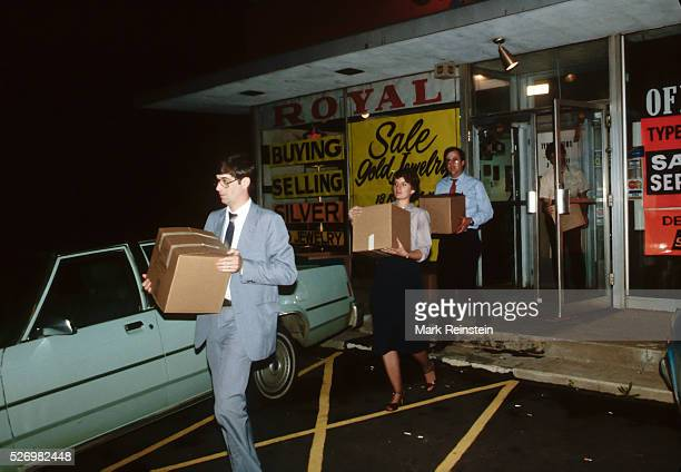 Washington DC 511981 FBI Agents carrying out boxes of evidence after they raid a pawn shop Credit Mark Reinstein