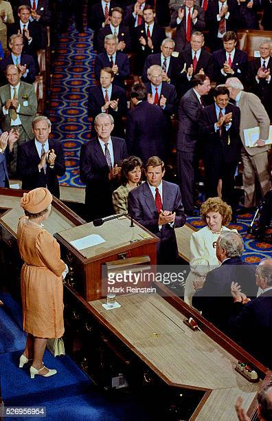 Washington, DC. 5-16-1991 Queen Elizabeth addresses a joint session of Congress. In the first address by a British monarch to a joint session of...