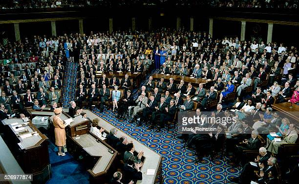 Washington, DC. 5-16-1991 Queen Elizabeth II made history by becoming the first British monarch to address a joint session of Congress, opened her...