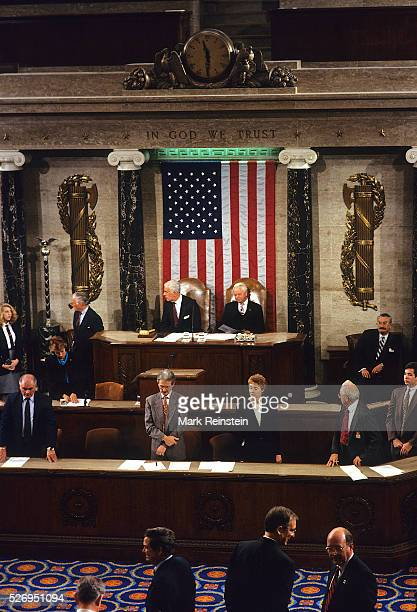 Washington DC 5181994 Speaker of the House Thomas Foley and President Pro Tempore of the Senate Robert Byrd preside over a Joint Session of Congress...