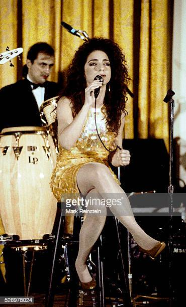 Washington DC 6181991 Gloria Estefan performs in the East Room of the White House as the evenings entertainment for the State Dinner honoring...