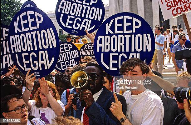 Washington DC 731989 Protestors for and against abortion face off against each other as the court rules on Webster v Reproductive Health Services...