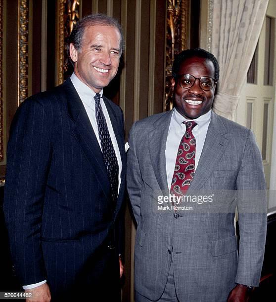 Washington DC 791991 Senator Joe Biden the chairman of the Senate Judicary Committee poses with Supreme Court Associate Justice nominee Clarence...