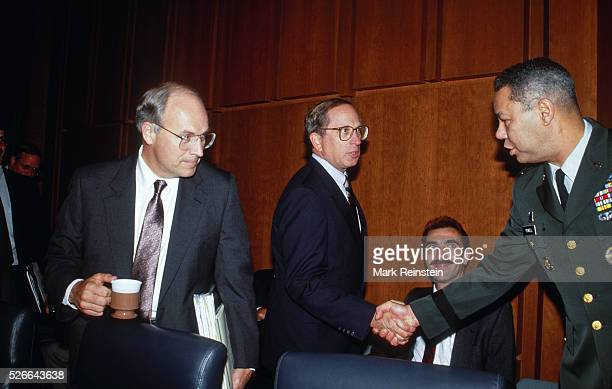 Washington, DC. 9-1-1990 Richard Cheney the Sec. Of Def. And Senator Sam Nunn and General Colin Powell at Senate Armed Services Committee hearing....
