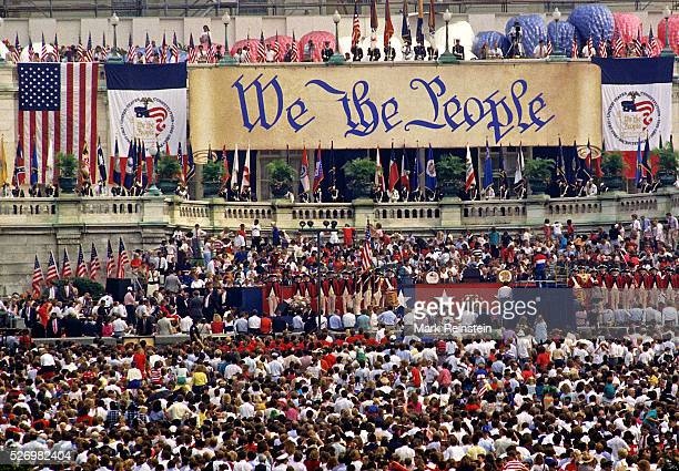 Washington, DC. 9-16-1987 A crowd of about 140,000 people are gathered on the west front of the nations Capitol to celebrate citizenship and the...