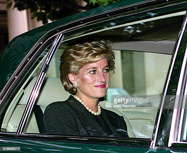 Washington DC 9241996 Diana Princess of Wales leaves the Brazilian Ambassador's residence enroute to the White House She was in town for a series of...