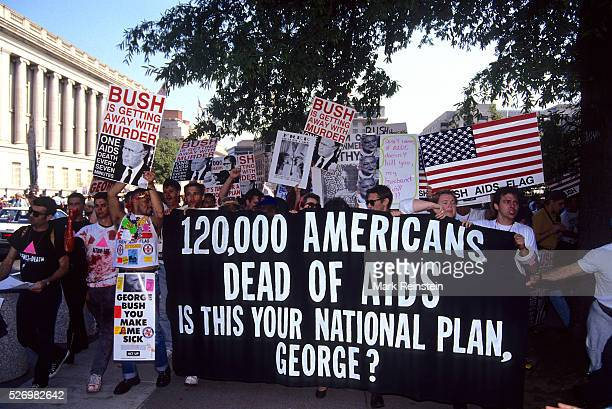 Washington DC 9301991 ACT UP targets President Bush at the White House declaring that with over 120000 Americans dead from AIDS the President is...