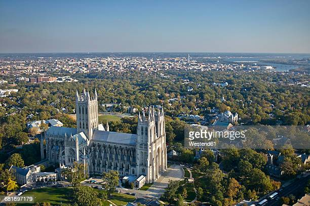 USA, Washington, D.C., Aerial photograph of National Cathedral