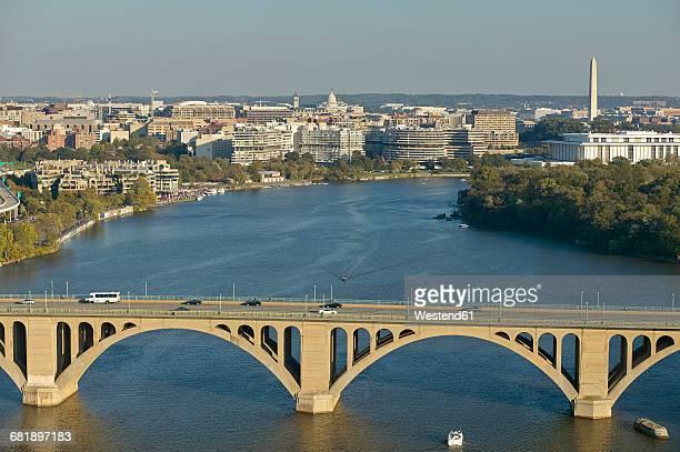 USA, Washington, D.C., Aerial photograph of Potomac River and Key Bridge