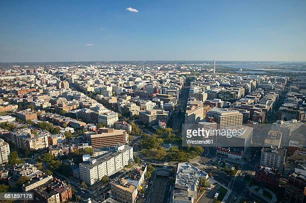 usa, washington, d.c., aerial photograph of the city with dupont circle - washington dc stock pictures, royalty-free photos & images