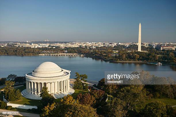 USA, Washington, D.C., Aerial photograph of the Jefferson Memorial, Tidal Basin and Washington Monument
