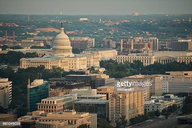 usa, washington, d.c., aerial photograph of the united states capitol and the federal triangle - washington dc stock pictures, royalty-free photos & images