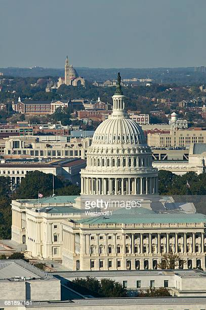 USA, Washington, D.C., Aerial photograph of the United States Capitol