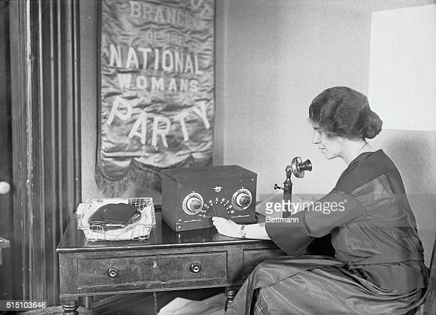 Alice Paul vice president of the National Women's party broadcasts plans for the dedication of the New National Headquarters at Washington from her...
