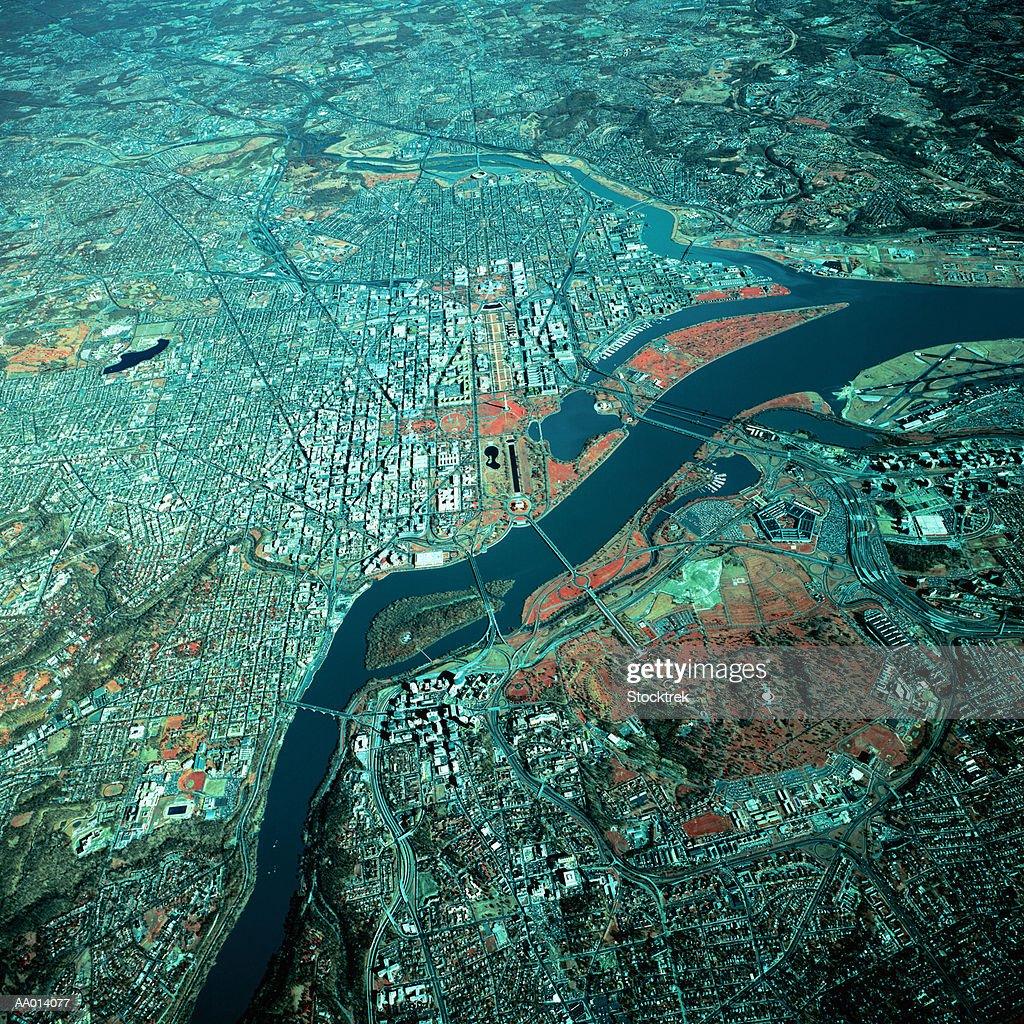 USA, Washington DC and Potomac River, aerial view : Stock Photo