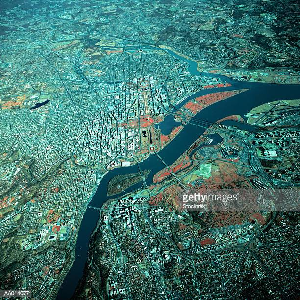 USA, Washington DC and Potomac River, aerial view