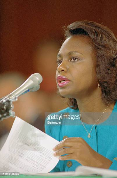 Washington, D.C.: Anita Hill's testimony before the Senate Judiciary Committee on the nomination of Judge Clarence Thomas to U.S. Senate.