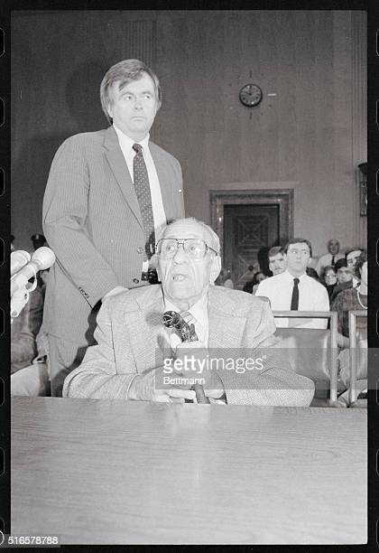 Anthony Big Tuna Accardo of Chicago looks over his cane which has a tuna fish head prior to testifying before the Senate Investigations Subcommittee...