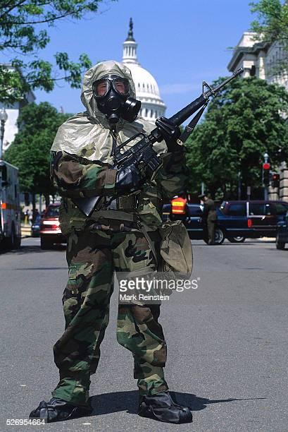 Washington DC April 301997 Members of the US Marine Corps Chemical / Biological Incident Response Force pose for pictures as they were being...