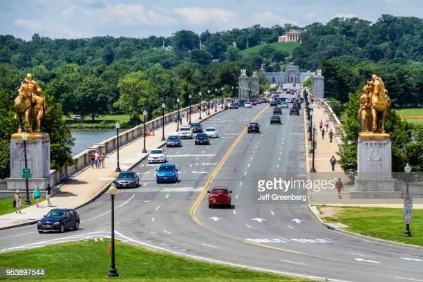 Washington DC Arlington Memorial Bridge with Traffic