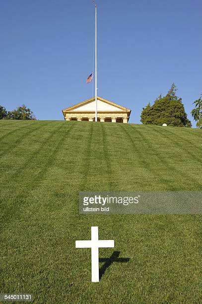 Arlington National Cemetary cross on grave of politician Robert F Kennedy
