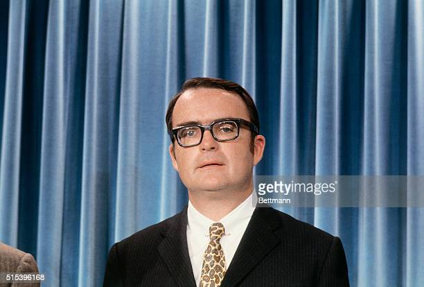 Washington, D.C.: Assistant attorney general William D. Ruckelshaus walks with newsmen at the White House after he was selected by President Nixon as...