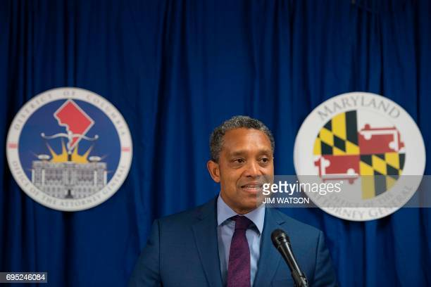 Washington DC Attorney General Karl Racine speaks during a press conference announcing in Washington DC on June 12 2017 Racine and Maryland Attorney...