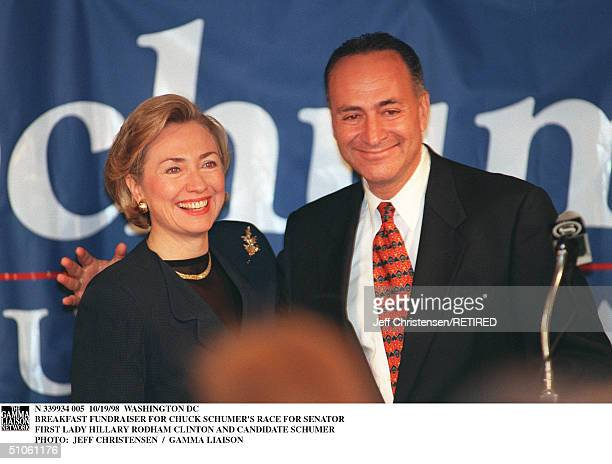Washington Dc Breakfast Fundraiser For Chuck Schumer's Race For Senator First Lady Hillary Rodham Clinton And Candidate Schumer