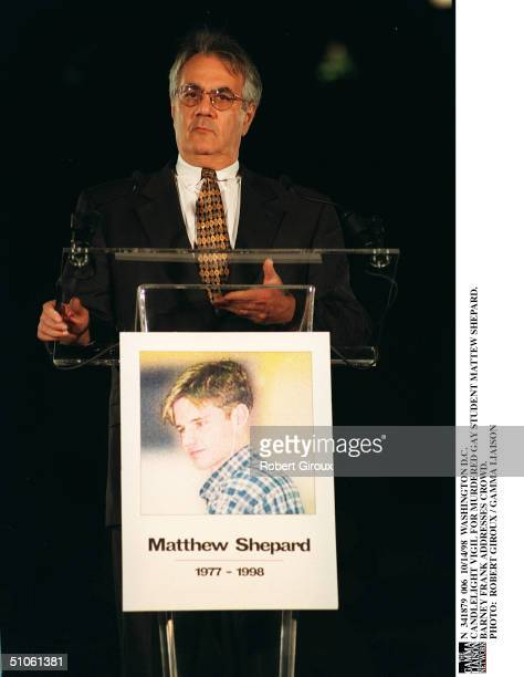 Washington DC Candlelight Vigil For Murdered Gay Student Mattew Shepard Barney Frank Addresses Crowd
