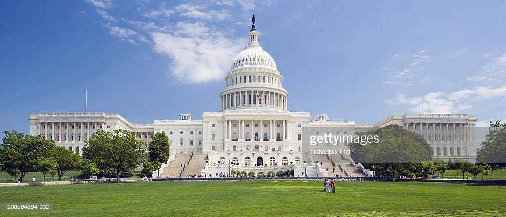 USA, Washington DC, Capitol Building dome and statue : Stock Photo