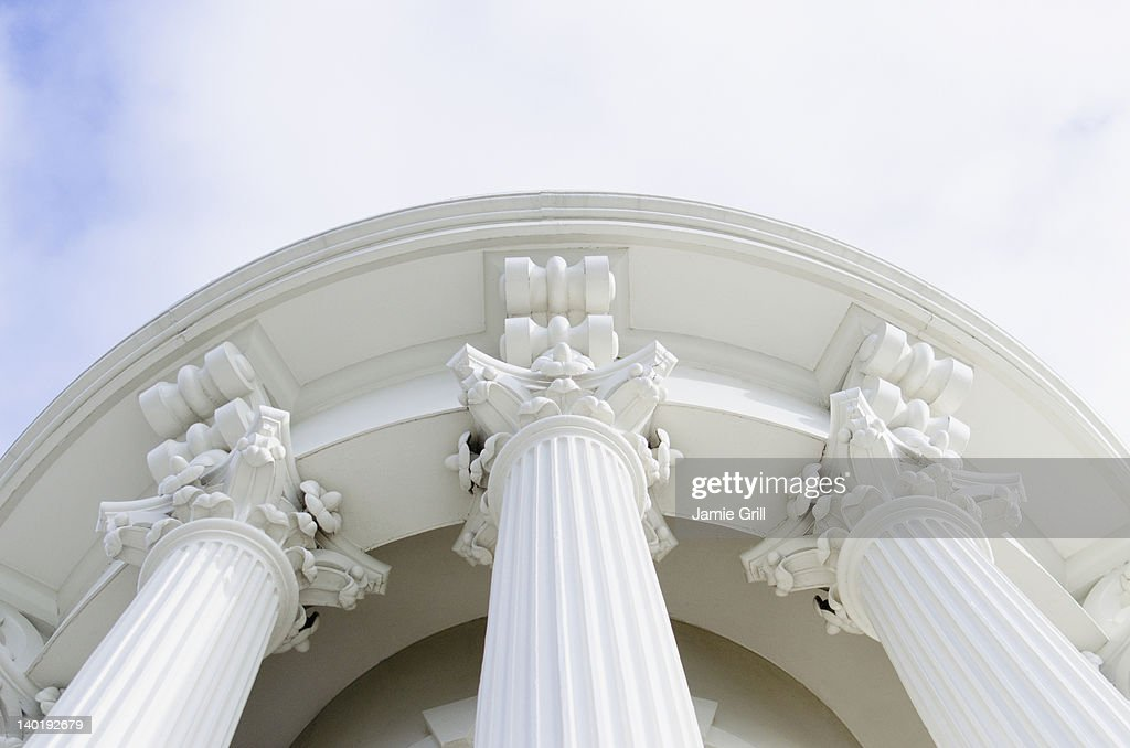 USA, Washington DC, Capitol Building, Low angle view of columns : Stock Photo
