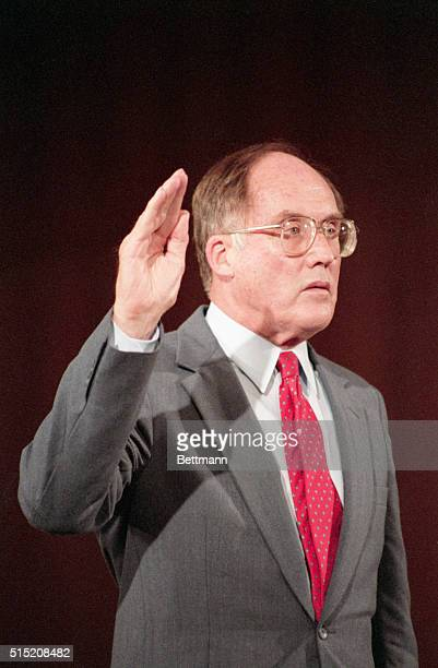 Washington, DC: Chief Justice nominee William Rehnquist is sworn in to testify before the Senate Judiciary Committee. Senate Republicans called...